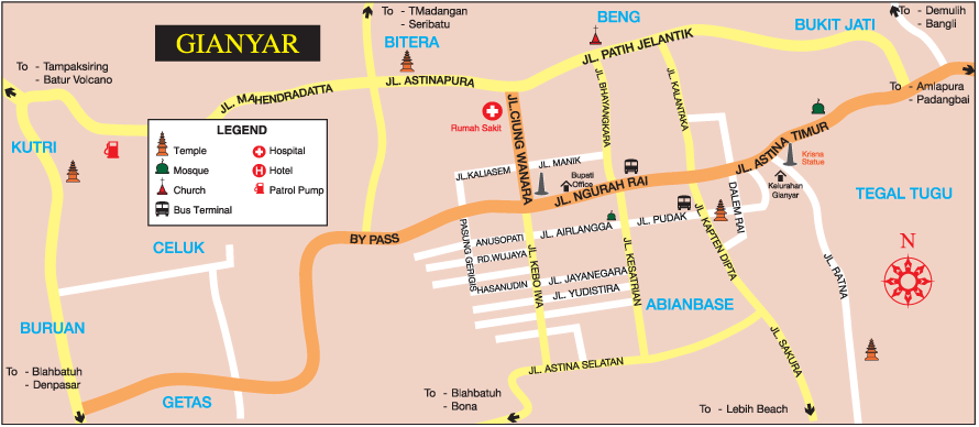 Complete Gianyar Bali Location Map for Holidays Lover,Location map of Gianyar Bali,Gianyar Accommodation Destinations Attractions Hotels Maps,Sukawati Tegallelang Blahbatuh Tampaksiring Payangan Map,Gianyar City Garden, Istana Tampaksiring/Tampak Siring President Palace, Pura Penataran Sasih, Pura Dalem Sidan, Bali Funworld, Cucukan Beach, Bali zoo and Bali Bird Park