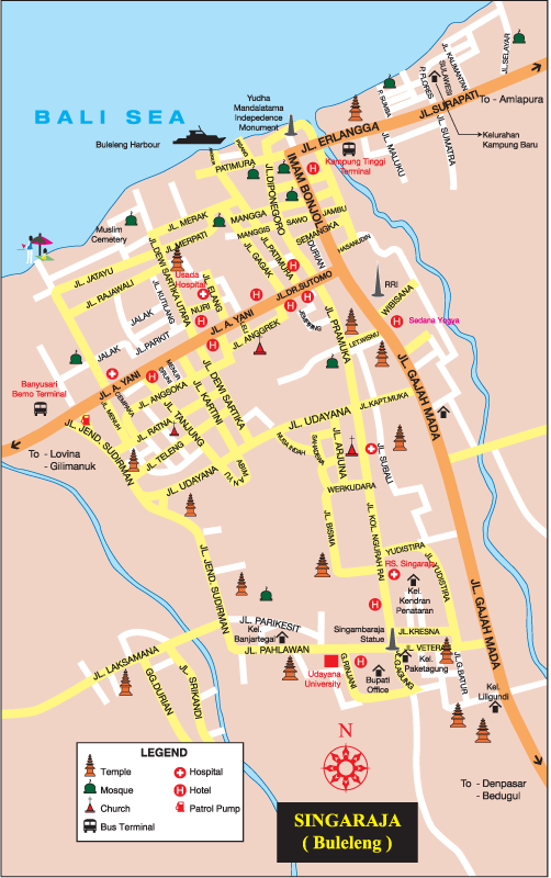 Singaraja City Streets Map,Detail Singaraja Location Map for Travelers Guide,Location Map of Singaraja Bali,Singaraja Accommodation Hotels Destinations Attractions Maps,Yudha Mandalatama Independence Monument, Pura Agung Jagatnatha,Gedong Kirtya,things to do trips hotel singaraja buleleng restaurants airport